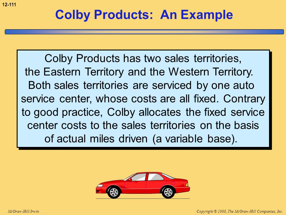 Copyright © 2008, The McGraw-Hill Companies, Inc.McGraw-Hill/Irwin 12-111 Colby Products: An Example Colby Products has two sales territories, the Eas