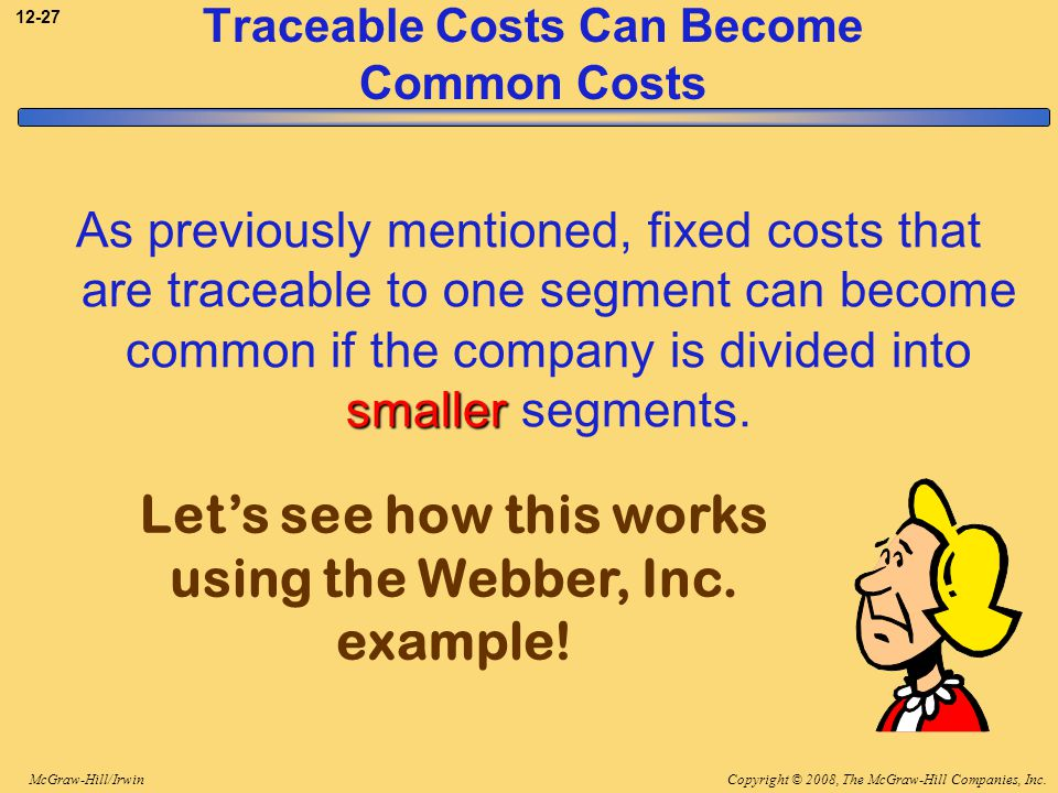 Copyright © 2008, The McGraw-Hill Companies, Inc.McGraw-Hill/Irwin 12-27 Traceable Costs Can Become Common Costs smaller As previously mentioned, fixe
