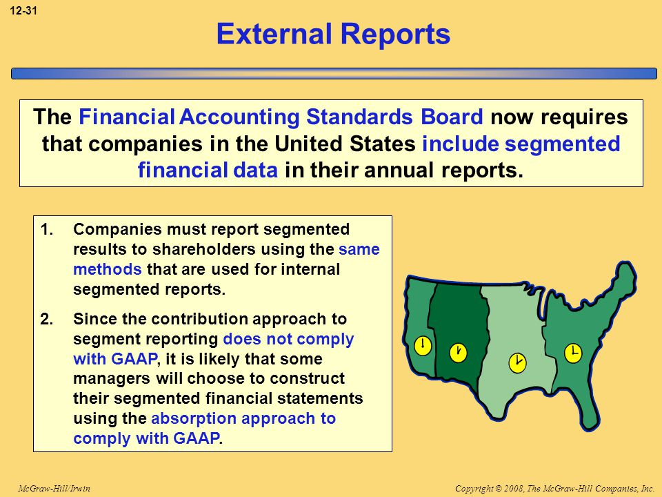 Copyright © 2008, The McGraw-Hill Companies, Inc.McGraw-Hill/Irwin 12-31 External Reports The Financial Accounting Standards Board now requires that c