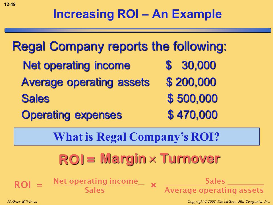 Copyright © 2008, The McGraw-Hill Companies, Inc.McGraw-Hill/Irwin 12-49 Increasing ROI – An Example Regal Company reports the following: Net operatin