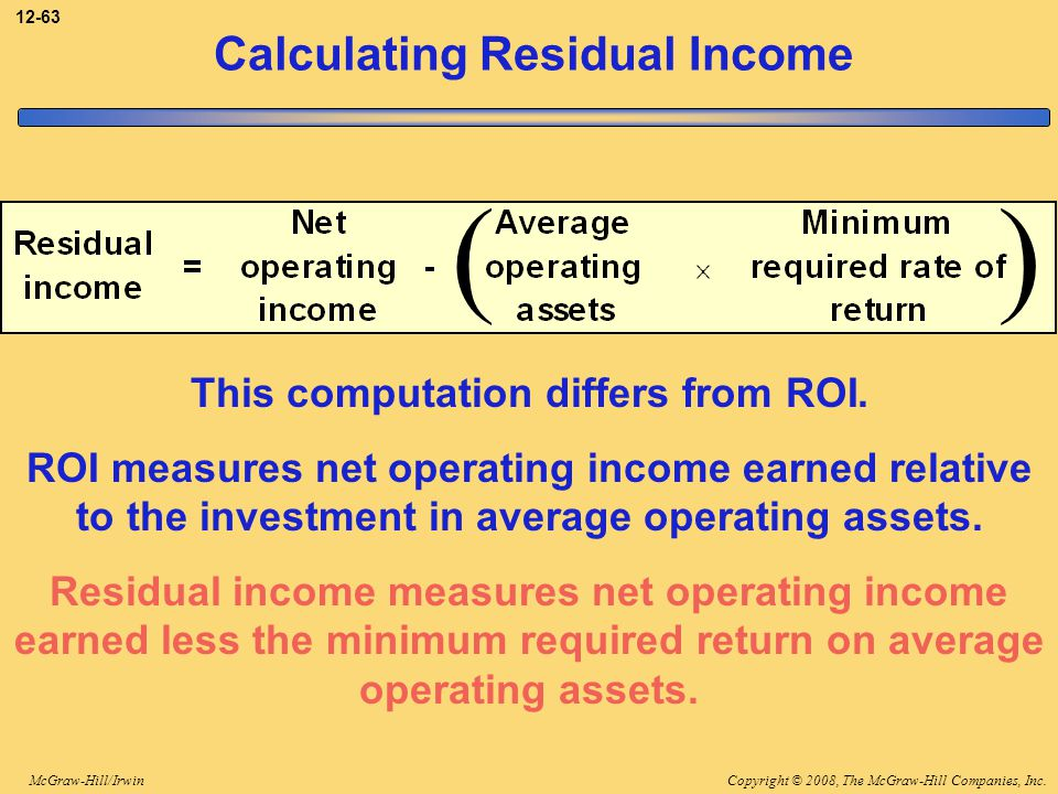 Copyright © 2008, The McGraw-Hill Companies, Inc.McGraw-Hill/Irwin 12-63 Calculating Residual Income () This computation differs from ROI. ROI measure