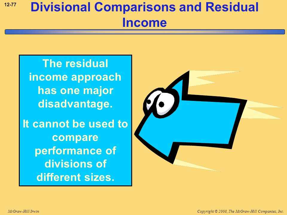 Copyright © 2008, The McGraw-Hill Companies, Inc.McGraw-Hill/Irwin 12-77 Divisional Comparisons and Residual Income The residual income approach has o
