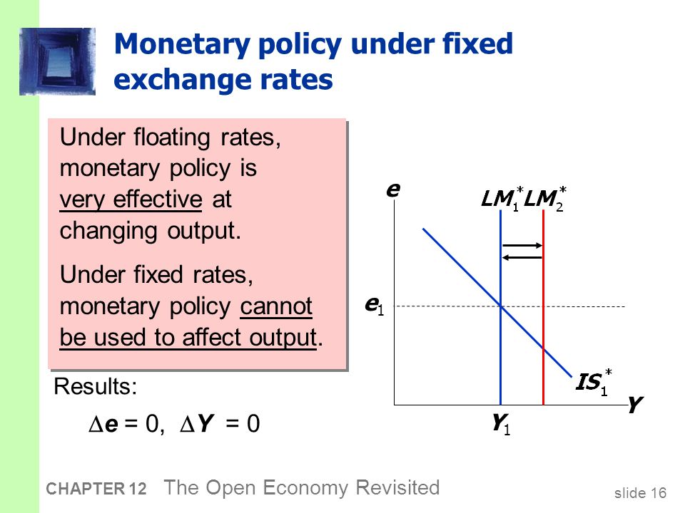 slide 16 CHAPTER 12 The Open Economy Revisited Monetary policy under fixed exchange rates An increase in M would shift LM* right and reduce e. Y e Y1Y