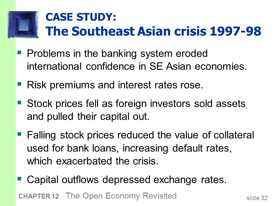 slide 32 CHAPTER 12 The Open Economy Revisited CASE STUDY: The Southeast Asian crisis 1997-98  Problems in the banking system eroded international co