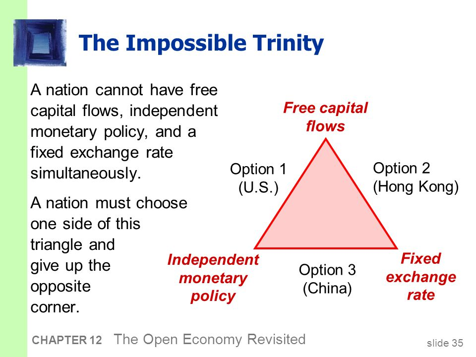 slide 35 CHAPTER 12 The Open Economy Revisited The Impossible Trinity A nation cannot have free capital flows, independent monetary policy, and a fixe