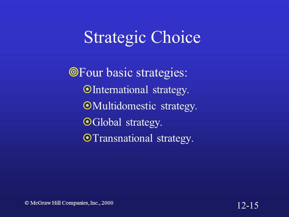 © McGraw Hill Companies, Inc., 2000 Strategic Choice  Four basic strategies:  International strategy.  Multidomestic strategy.  Global strategy. 