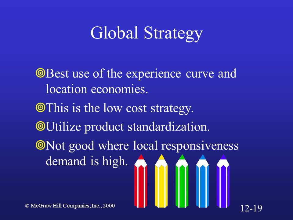 © McGraw Hill Companies, Inc., 2000 Global Strategy  Best use of the experience curve and location economies.  This is the low cost strategy.  Util