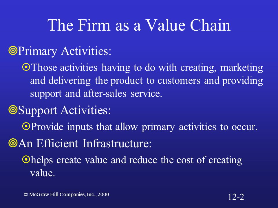 © McGraw Hill Companies, Inc., 2000 The Firm as a Value Chain  Primary Activities:  Those activities having to do with creating, marketing and deliv