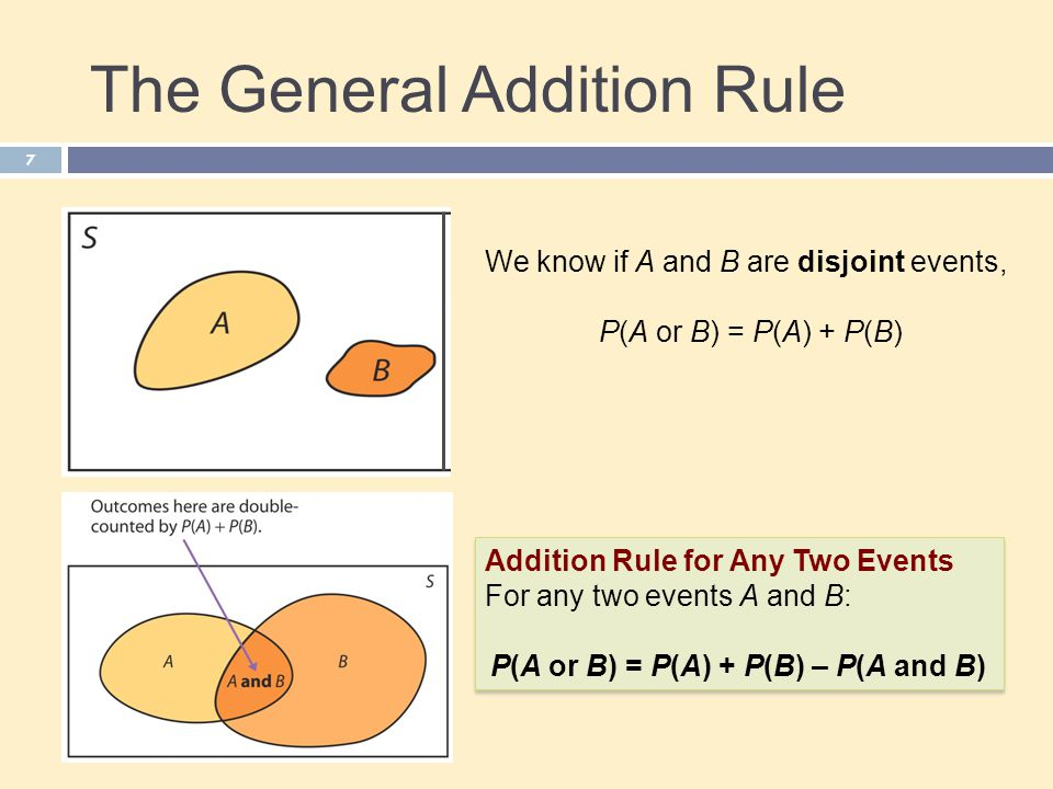 The General Addition Rule 7 We know if A and B are disjoint events, P(A or B) = P(A) + P(B) Addition Rule for Any Two Events For any two events A and B: P(A or B) = P(A) + P(B) – P(A and B) Addition Rule for Any Two Events For any two events A and B: P(A or B) = P(A) + P(B) – P(A and B)