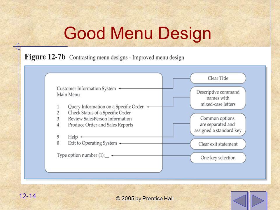 © 2005 by Prentice Hall 12-14 Good Menu Design