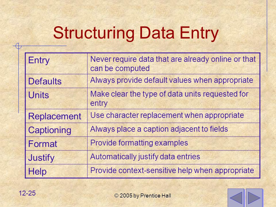 © 2005 by Prentice Hall 12-25 Structuring Data Entry Entry Never require data that are already online or that can be computed Defaults Always provide default values when appropriate Units Make clear the type of data units requested for entry Replacement Use character replacement when appropriate Captioning Always place a caption adjacent to fields Format Provide formatting examples Justify Automatically justify data entries Help Provide context-sensitive help when appropriate