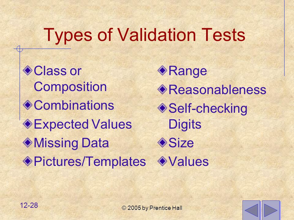 © 2005 by Prentice Hall 12-28 Types of Validation Tests Class or Composition Combinations Expected Values Missing Data Pictures/Templates Range Reason