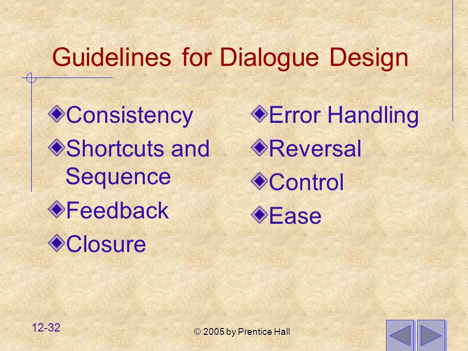 © 2005 by Prentice Hall 12-32 Guidelines for Dialogue Design Consistency Shortcuts and Sequence Feedback Closure Error Handling Reversal Control Ease