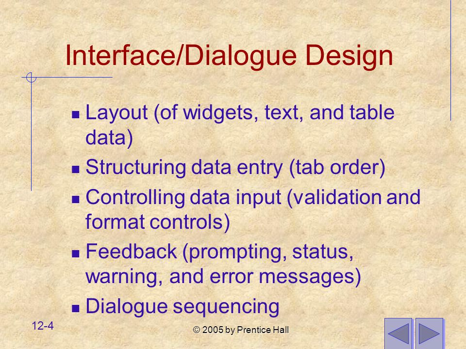 © 2005 by Prentice Hall 12-4 Interface/Dialogue Design Layout (of widgets, text, and table data) Structuring data entry (tab order) Controlling data input (validation and format controls) Feedback (prompting, status, warning, and error messages) Dialogue sequencing
