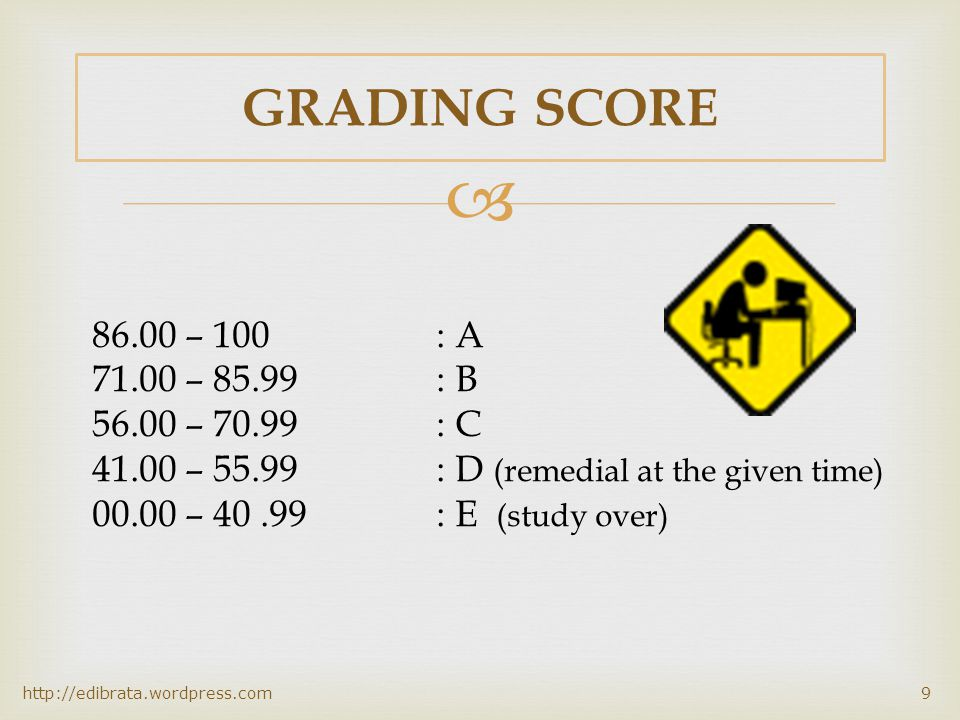  COURSE EVALUATION http://edibrata.wordpress.com8 Grading of this subject will consider the following items: 1.Attendance 2.Mid Term Test 3.Final Tes