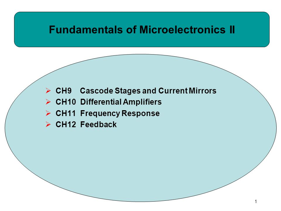 1 Fundamentals of Microelectronics II  CH9 Cascode Stages and Current Mirrors  CH10 Differential Amplifiers  CH11 Frequency Response  CH12 Feedback