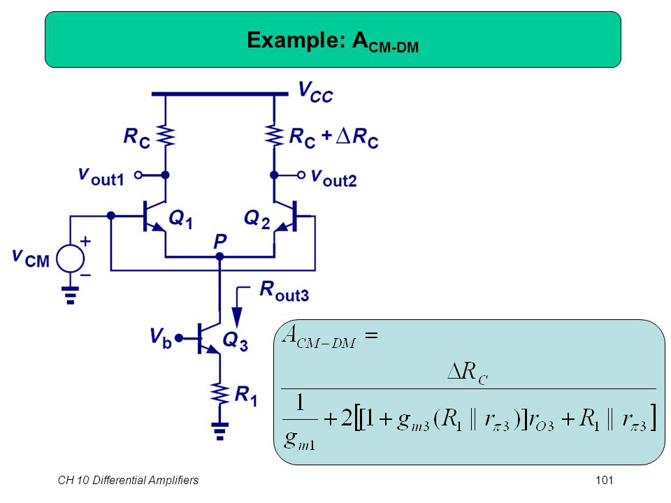 CH 10 Differential Amplifiers101 Example: A CM-DM