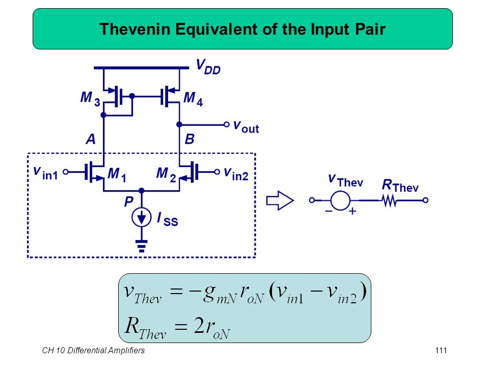 CH 10 Differential Amplifiers111 Thevenin Equivalent of the Input Pair