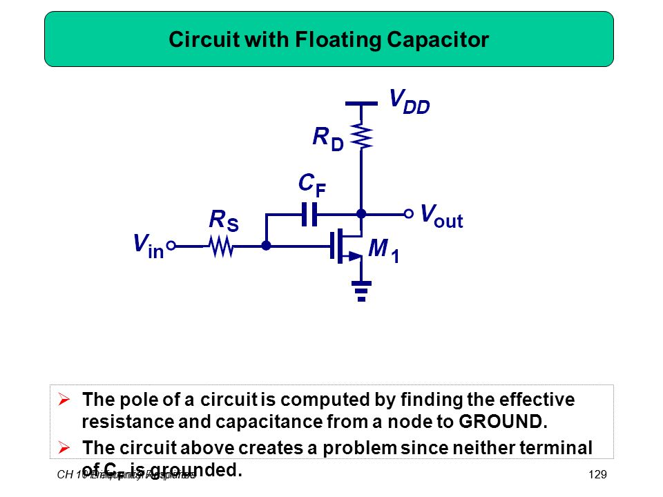 CH 10 Differential Amplifiers129CH 11 Frequency Response129 Circuit with Floating Capacitor  The pole of a circuit is computed by finding the effecti