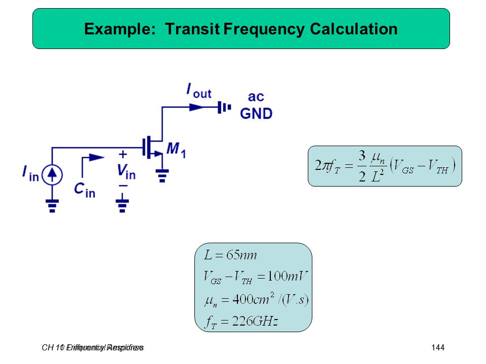 CH 10 Differential Amplifiers144 Example: Transit Frequency Calculation CH 11 Frequency Response144
