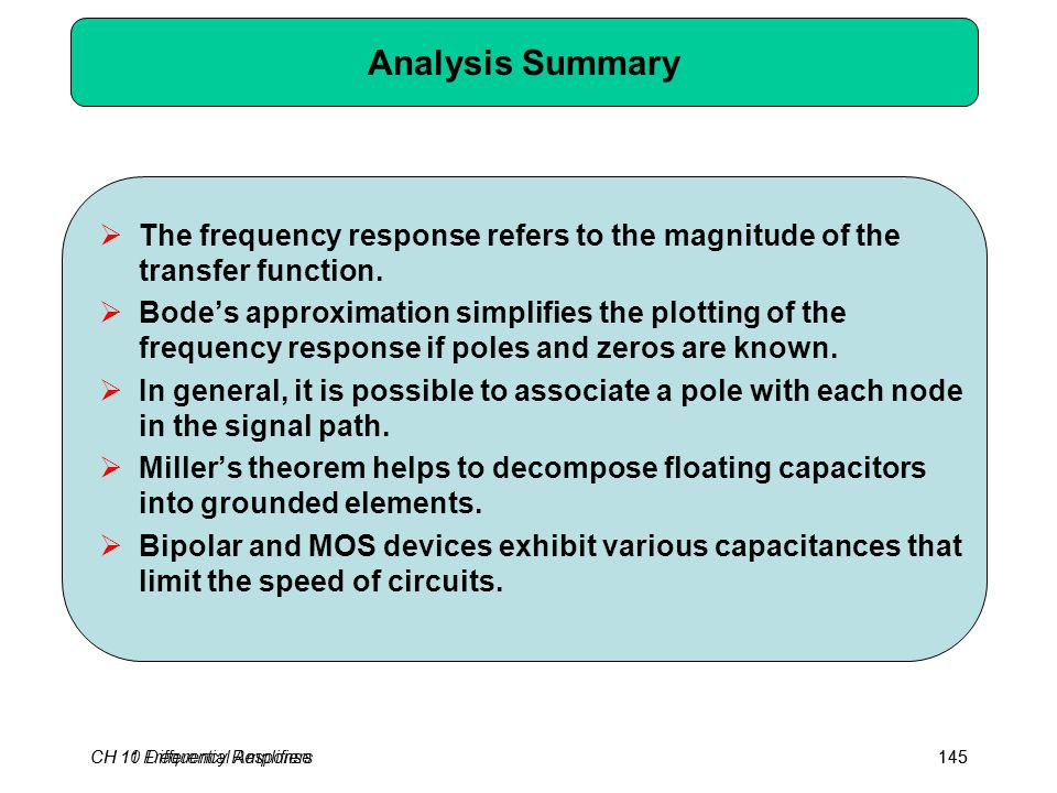 CH 10 Differential Amplifiers145 Analysis Summary  The frequency response refers to the magnitude of the transfer function.