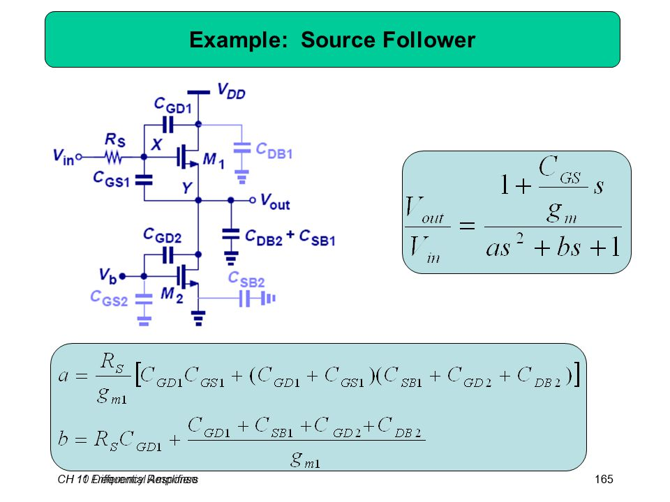 CH 10 Differential Amplifiers165CH 11 Frequency Response165 Example: Source Follower