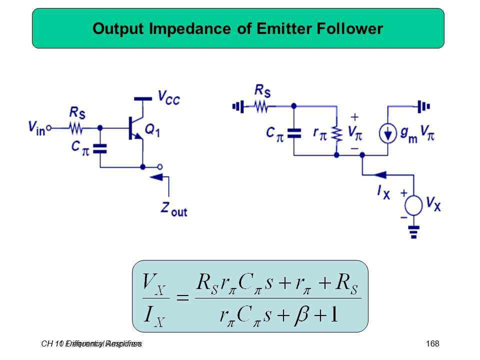 CH 10 Differential Amplifiers168CH 11 Frequency Response168 Output Impedance of Emitter Follower