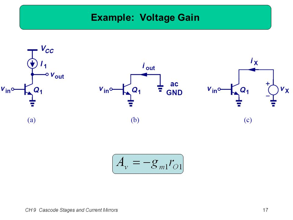 CH 9 Cascode Stages and Current Mirrors17 Example: Voltage Gain