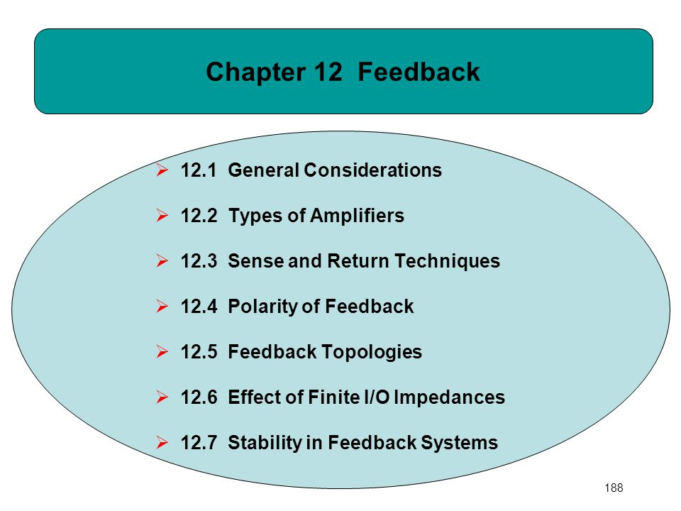188 Chapter 12 Feedback  12.1 General Considerations  12.2 Types of Amplifiers  12.3 Sense and Return Techniques  12.4 Polarity of Feedback  12.5
