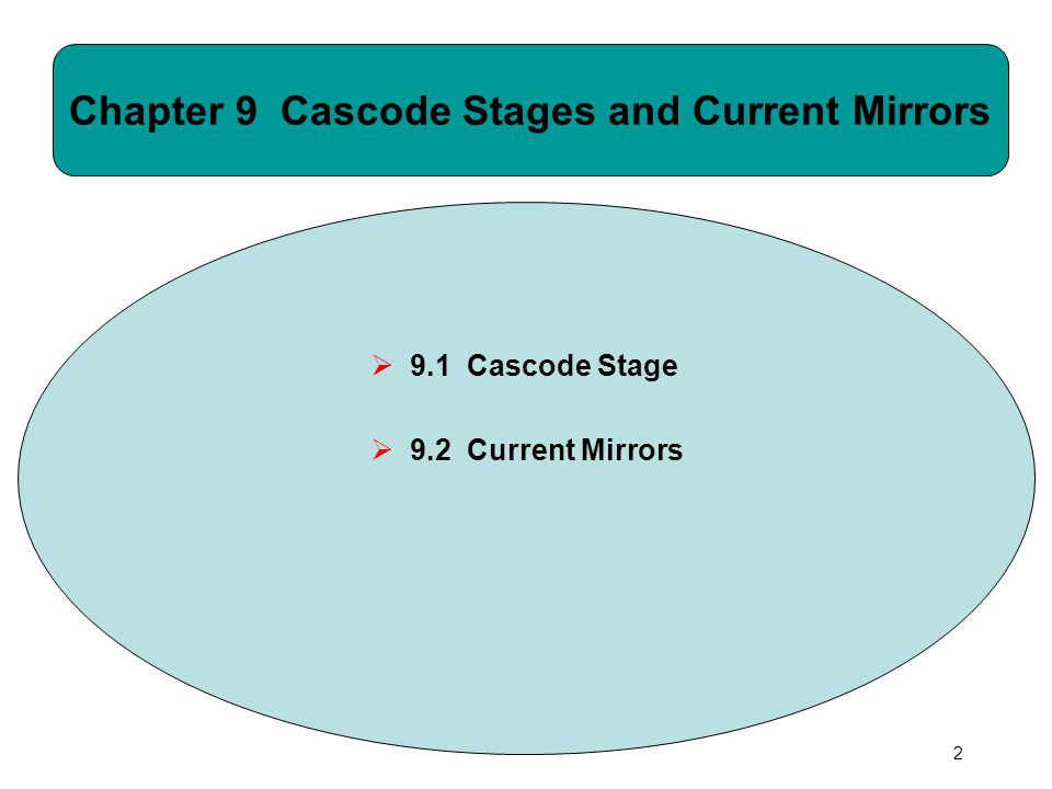CH 9 Cascode Stages and Current Mirrors43 Example: Current Scaling  Similar to their bipolar counterpart, MOS current mirrors can also scale I REF up or down (I 1 = 0.2mA, I 2 = 0.5mA).