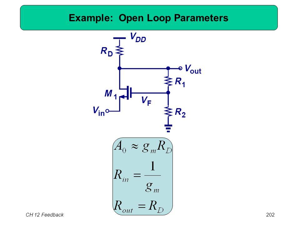 CH 12 Feedback202 Example: Open Loop Parameters