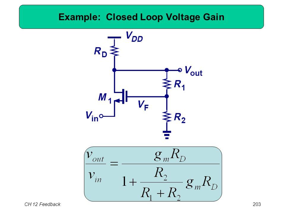 CH 12 Feedback203 Example: Closed Loop Voltage Gain