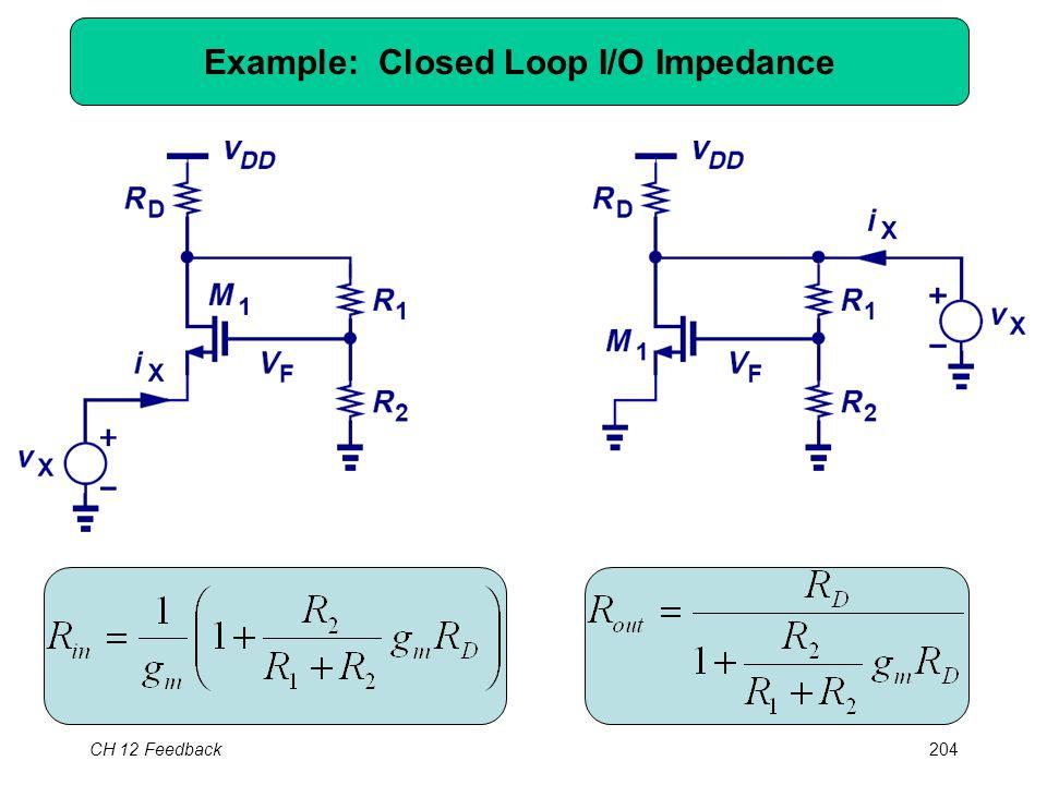 CH 12 Feedback204 Example: Closed Loop I/O Impedance