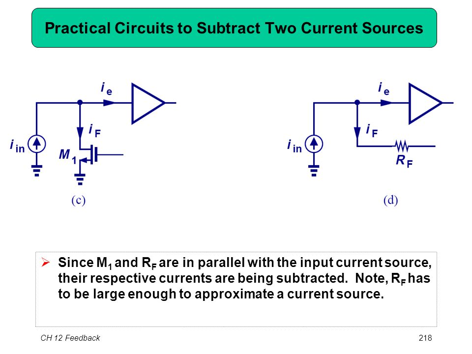 CH 12 Feedback218 Practical Circuits to Subtract Two Current Sources  Since M 1 and R F are in parallel with the input current source, their respective currents are being subtracted.