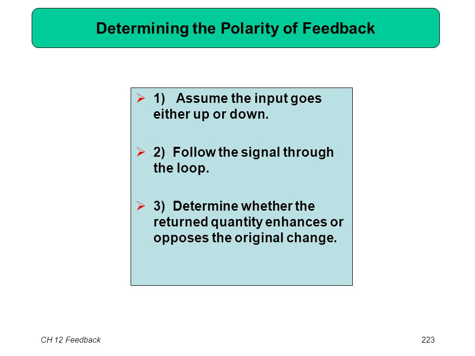 CH 12 Feedback223 Determining the Polarity of Feedback  1) Assume the input goes either up or down.  2) Follow the signal through the loop.  3) Det