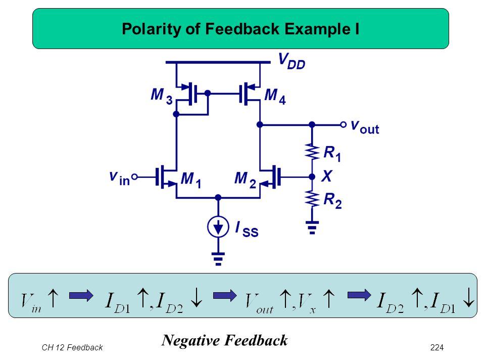 CH 12 Feedback224 Polarity of Feedback Example I Negative Feedback