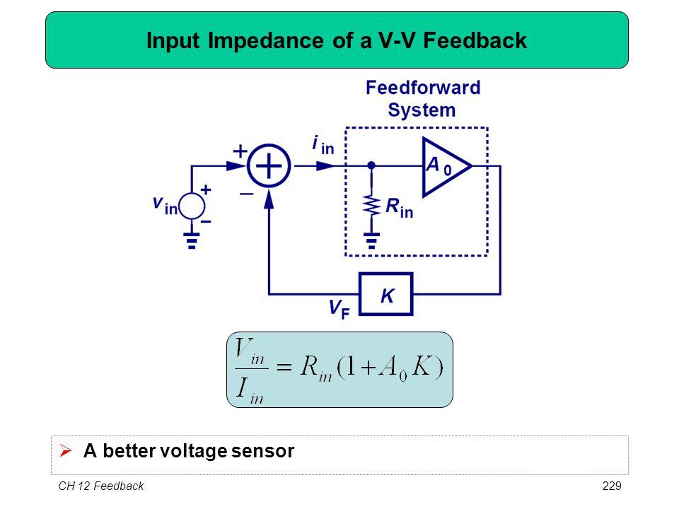 CH 12 Feedback229 Input Impedance of a V-V Feedback  A better voltage sensor