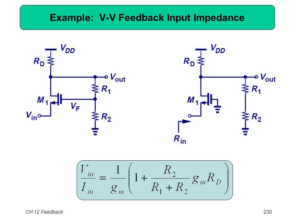 CH 12 Feedback230 Example: V-V Feedback Input Impedance