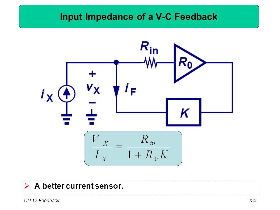 CH 12 Feedback235 Input Impedance of a V-C Feedback  A better current sensor.