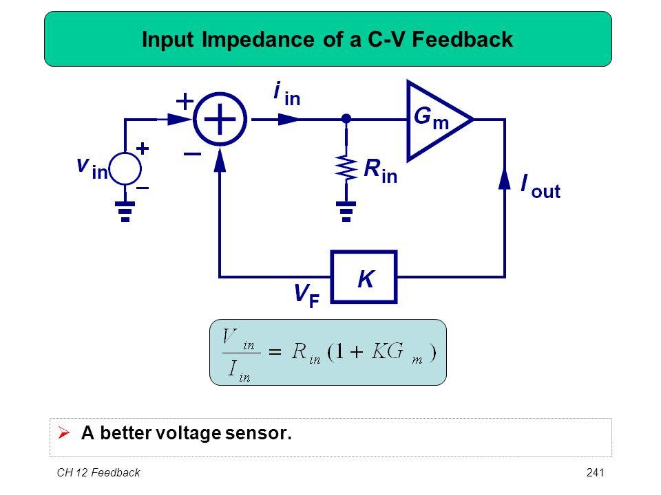 CH 12 Feedback241 Input Impedance of a C-V Feedback  A better voltage sensor.