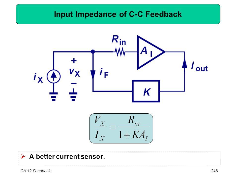 CH 12 Feedback246 Input Impedance of C-C Feedback  A better current sensor.