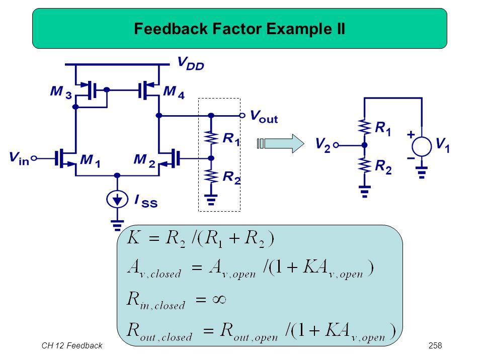 CH 12 Feedback258 Feedback Factor Example II