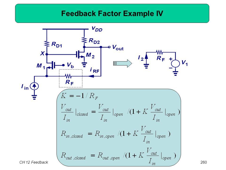 CH 12 Feedback260 Feedback Factor Example IV