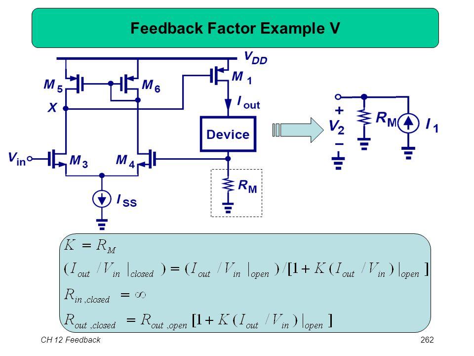CH 12 Feedback262 Feedback Factor Example V