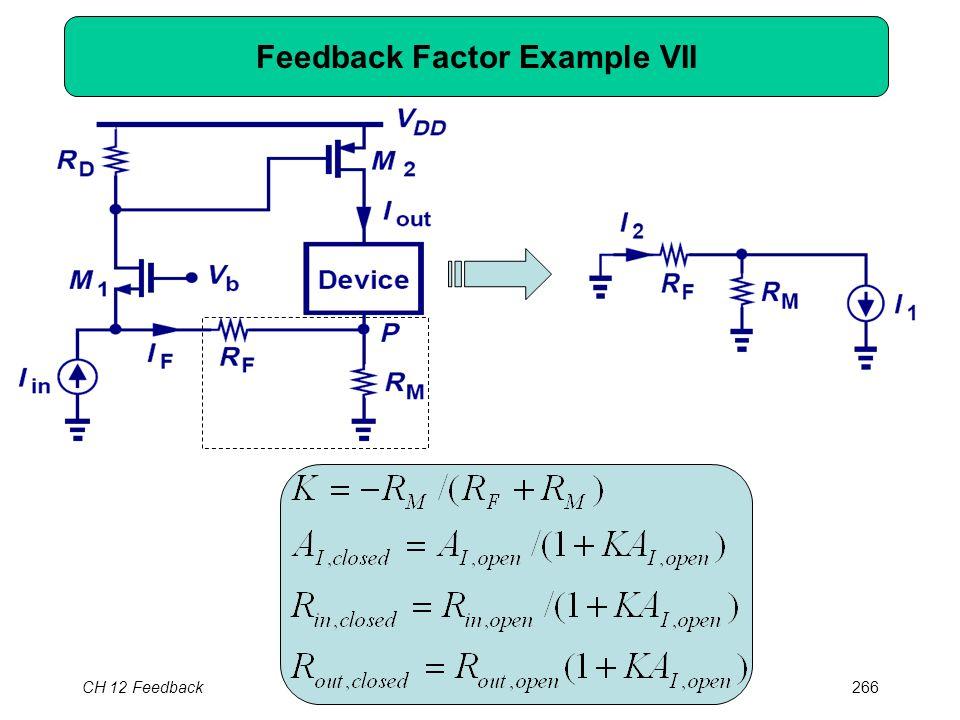 CH 12 Feedback266 Feedback Factor Example VII