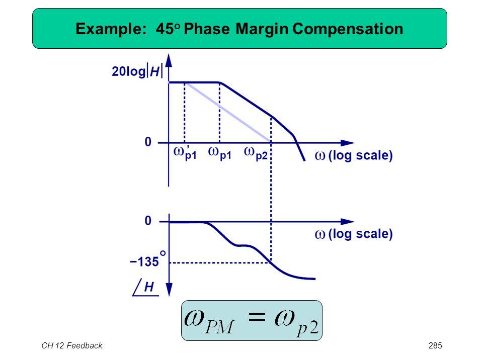 CH 12 Feedback285 Example: 45 o Phase Margin Compensation