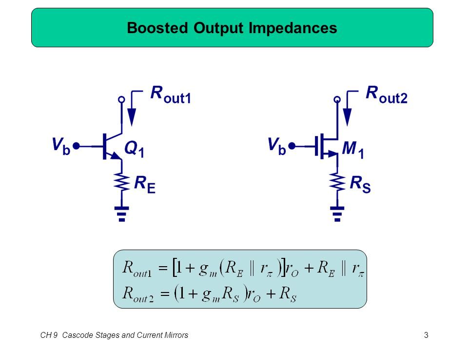 CH 9 Cascode Stages and Current Mirrors3 Boosted Output Impedances