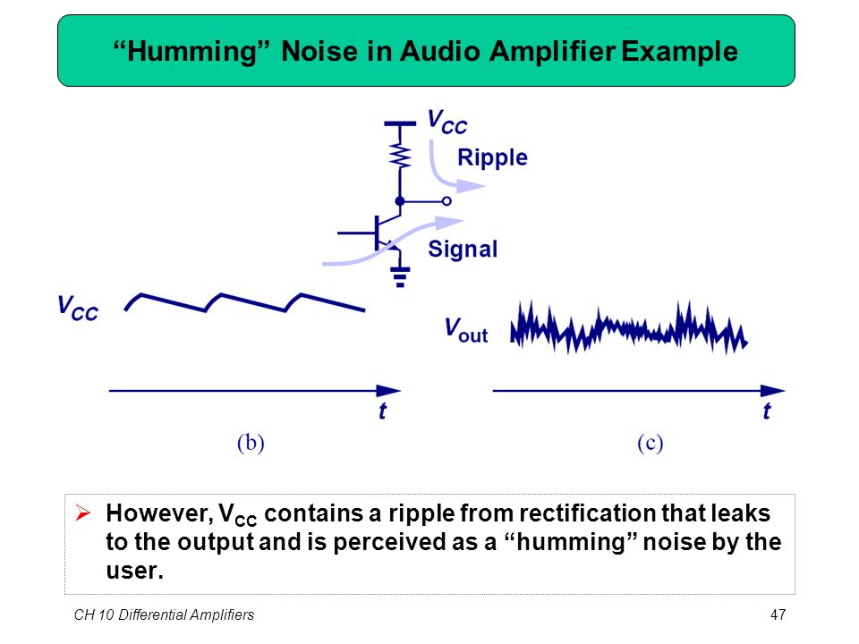 CH 10 Differential Amplifiers47 Humming Noise in Audio Amplifier Example  However, V CC contains a ripple from rectification that leaks to the output and is perceived as a humming noise by the user.