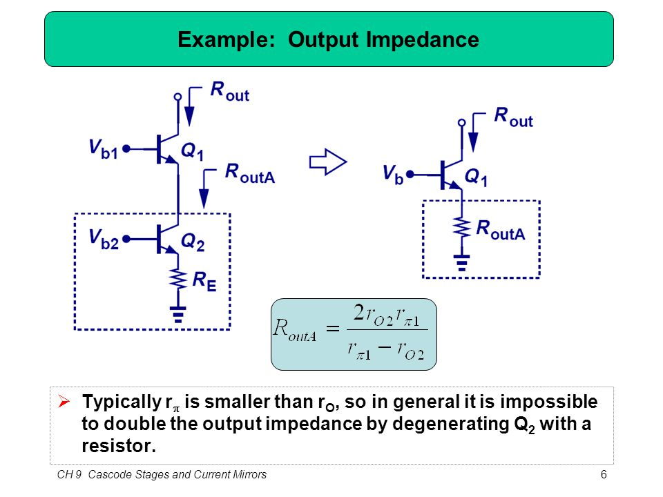 CH 9 Cascode Stages and Current Mirrors6 Example: Output Impedance  Typically r  is smaller than r O, so in general it is impossible to double the o