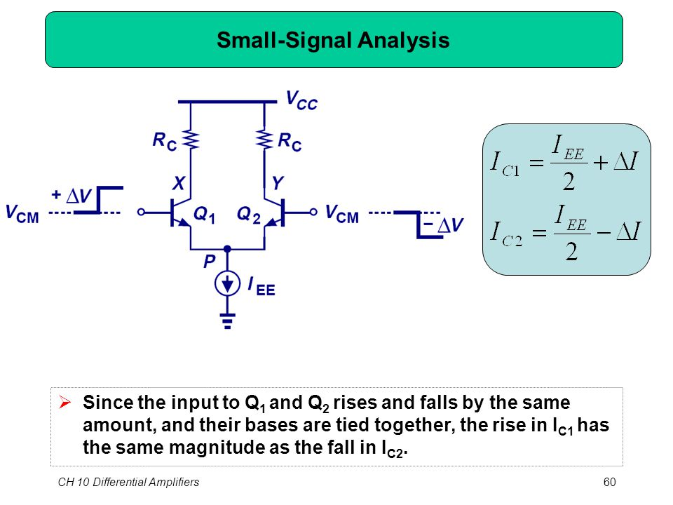 CH 10 Differential Amplifiers60 Small-Signal Analysis  Since the input to Q 1 and Q 2 rises and falls by the same amount, and their bases are tied together, the rise in I C1 has the same magnitude as the fall in I C2.